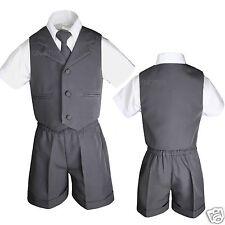 Boys Infant Toddler Formal Eton Dark Gray Vest Set Shorts Suit S M L XL 2T 3T 4T
