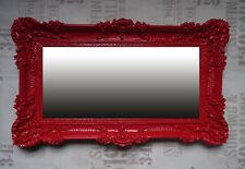 XXL Baroque Wall Mirror 96x57 Cm Antique Rococo Wall Deco Prinzessinspiegel Red