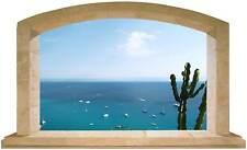 Sticker Trompe L'oeil Adesivo Finestra sul mare della Calabria con cactus