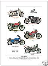 CLASSIC HONDA Fine Art Print A3 size - CA77 CB450 CB400F CB750 Gold Wing CBX1000