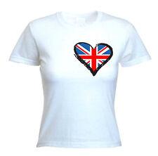 Union Jack Heart Ladies T-Shirt - Holidays Football  Athletics - Sizes S to XL
