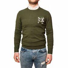 Maglioncino Uomo Verde Militare Maglia Taschino Fantasia Camouflage Invernale