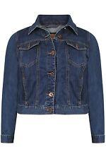 Mujer manga completo Navy Denim Jean chaqueta botones de algodón clásico tamaños Reino Unido 16-26