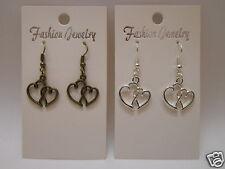 Love Heart in Heart Earrings 925 Sterling Silver Wires Clip On