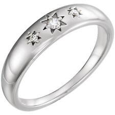 Sterling Silver Three Diamond Starburst Ring