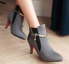 stivali stivaletti stiletto scarpe donna 8 cm grigio comodi simil pelle 8763