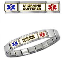 MIGRAINE SUFF MEDICAL ID 9mm + Italian Charm SILVER TONE SHINY Starter Bracelet