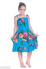 Aloha Summer Beach Hawaiian Cruise Luau Elastic Ruffles Hibiscus Girl Dress