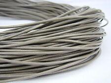 Lederschnur (ab 0,43€/m) Rund 2 mm. Grau. Lederband. Länge: wählbar