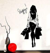 Wall Decal Girl Young Woman Shopping Bags Vinyl Sticker (z3602)