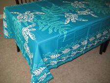 "Teal Turtle Hawaiian Tropical Fabric Tablecloth 3 sizes: 60x60"", 60x84, 60x108"""