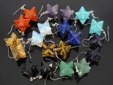 Natural Gemstone Merkaba Healing Reiki Chakra Pendant Silver Plated Hook Earring