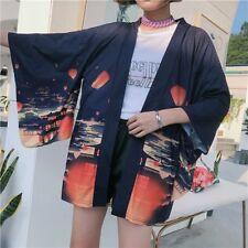 Japanese Women Kimono Jacket Coat Vintage Cardigan Outwear Top Retro Haori