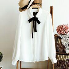 female elegant bow tie white blouses Chiffon peter pan collar casual shirt