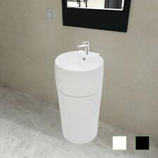 Sanitari bagno lavandino rotondo ceramica nera / bianca foro di trabocco