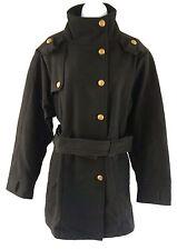 K. Jordan $189 Black Melton Wool Blend Trench Coat Women's Plus Size 1X