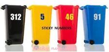 """3 x White Wheelie Bin House Numbers Stickers  Dustbin Sticker Peel & Stick  6"""""""