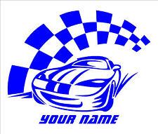 Nombre personalizado de texto en carrera coche Decal Sticker De Vinilo El Arte De Pared Chicos habitación R1