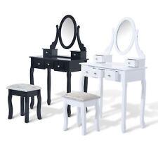Tocador + Taburete y Espejo Mesa Maquillaje 5 Cajones Blanco Negro Mesa MDF NUE