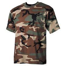US Army Style T-Shirt woodland camo Tarn Rundhals Kurzarm Baumwolle Neu