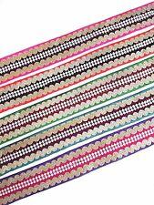 Frontera Sari Indio bordado de perlas de oro encaje cinta ribete étnico Craft 1 yarda