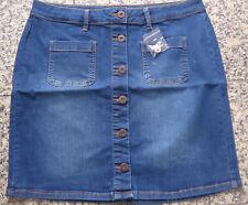 Heine Jeans Rock Stiefelrock Gr. 34 - 46 Blau mit Knopfleiste (992) NEU