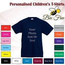 Kids Boys Girls Childrens Personalised Custom Print Cotton Short Sleeve T-Shirt