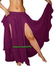 Purple Chiffon 2 Front Slit Skirts Circle Gypsy Belly Dance Tribal 9 Yard Jupe