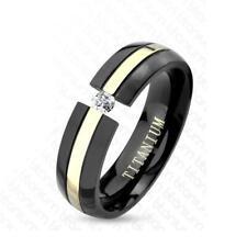 AF Titan Ring schwarz, silber 6mm breit Rille Stein 47 (15) - 66 (21)