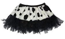 "Ladies 12"" Cow Print Black Cyber Tutu Skirt Wild Party Animal Fancy Dress"