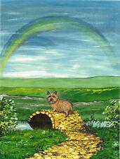 8X10 Print Of Painting Cairn Terrier Folk Art Rainbow Bridge Ryta Dog Wildlife