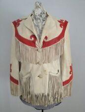 Womens Suede Leather Cream Fringe Native American Western Style Cowboy Jacket