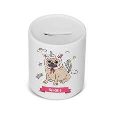 PERSONALISED Ceramic Children's money / saving box in Unicorn Dog Design Gift
