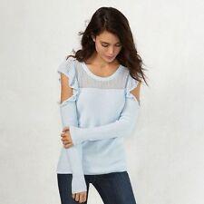LAUREN CONRAD decadence blue ruffled cold shoulder sweater XS-S-M- L-XL NEW