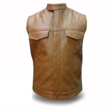 Mens Biker Style Vest Genuine Cow Leather Brown Motorcycle Waistcoat