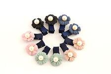 2x Haarspange Haarklammer Blume Blüte Perle Kinder Mädchen Haarschmuck K404