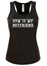 Womens t shirt Vest Tank Top S-XL Funny GYM IS MY BOYFRIEND racer vest