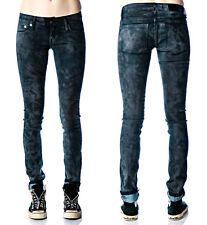 Kill City Lip Service Moto Zippers Leather Look Womens Stretch Skinny Jeans Grey