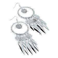 Silver Colour Long Drop Earrings 11 cm Tassel Drops
