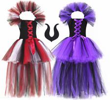 Girls Disney Villains Maleficent Fancy Dress Costume//Evil Queen Cosplay 9-10 Yrs