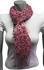 Grand Foulard Rose à franges 60x170 femme mixte chale leger echarpe NEUF scarf