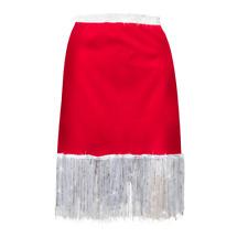WOMENS Santa COSTUME Tassel Fringe Red Skirt Christmas JINGLE BELL ROCK COSTUME