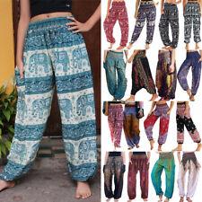 Women Gypsy Indian Boho Baggy Yoga Harem Pants Hippie Loose Palazzo Trousers AM