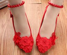 Zapatos de salón bailarina blanco lazo rojo novia encaje 3.5 4.5 8.5, 11 9274