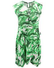 KHUJO Damen Kleid AGLAIA weiß grün Palmen-Print Wickel-Optik Shirtkleid Sommer