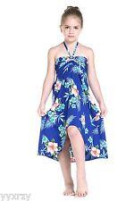 Aloha Butterfly Dress Girl Beach Hawaiian Cruise Luau Dance Blu Floral Hibiscus