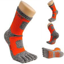 Womens Crew Sports Running Cycling Coolmax Cotton Five Finger 5 Toe Socks Orange