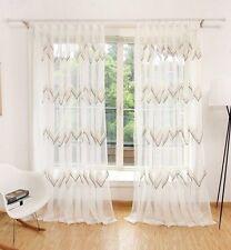 Voile Cortina Dormitorio Salón Ola con ojales Uni Crema Blanco 1 Pack