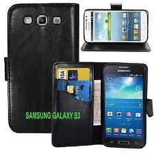 NUOVO Portafoglio in Pelle Nera Gel custodia con Card Slot per Samsung Galaxy s3 UK Venditore