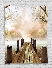 Fall Wooden Dock Bridge Tapestry Wall Hanging for Living Room Bedroom Dorm Decor